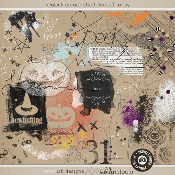 Project Mouse (Halloween): Artsy by Britt-ish Designs and Sahlin Studio - Perfect for your digital scrapbooking, Mixed Media , Journals or Disney Project Mouse albums!!