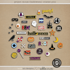 Project Mouse (Halloween): Enamel Pins by Britt-ish Designs and Sahlin Studio - Perfect for your digital scrapbooking, Project Life or Disney Project Mouse albums!!