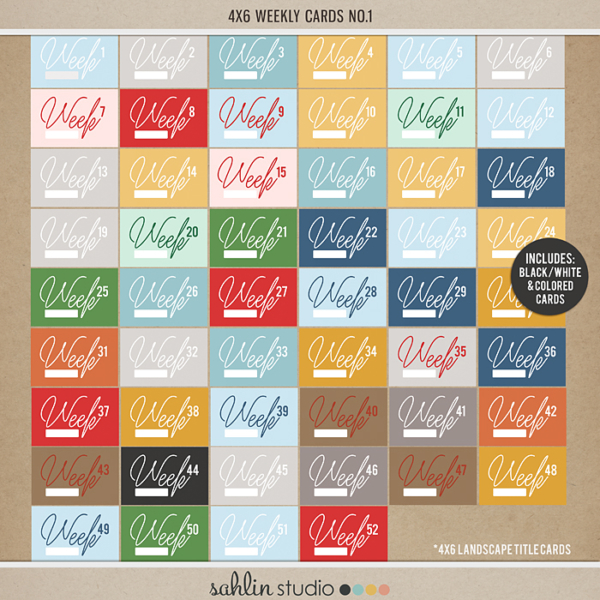 Weekly Journal Calendar Cards by Sahlin Studio - Perfect for your Project Life Album!!