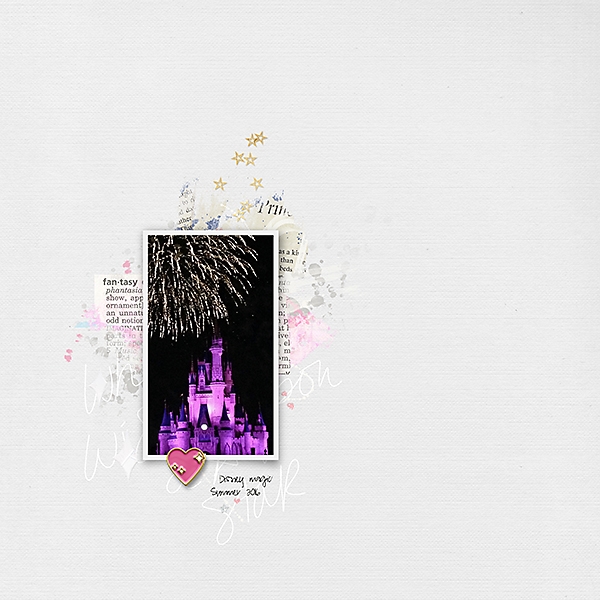 Disney castle digital scrapbooking page using Project Mouse (Fantasy): Enamel PIns and Artsy by Britt-ish Designs and Sahlin Studio