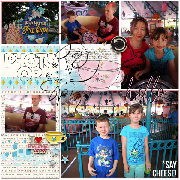 Disney Tea Cup digital project life page using Project Mouse (Fantasy): Enamel PIns and Artsy by Britt-ish Designs and Sahlin Studio