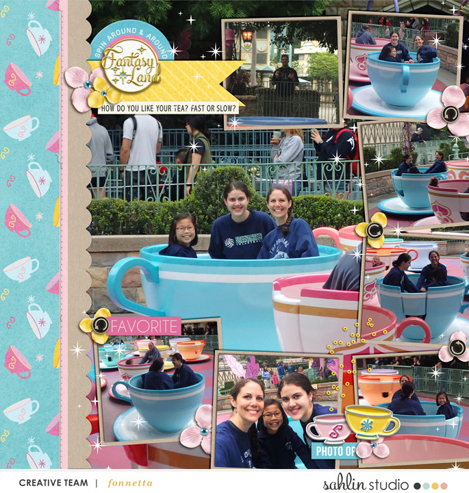 Disney Tea Cup ride digital scrapbooking page using Project Mouse (Fantasy): Enamel PIns and Artsy by Britt-ish Designs and Sahlin Studio