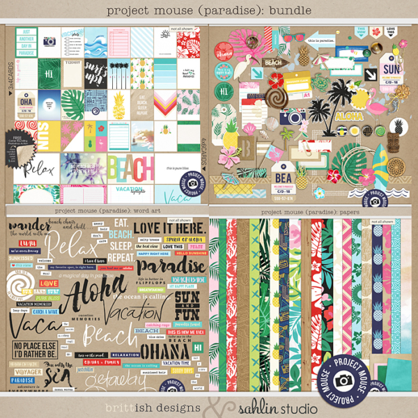 Project Mouse (Paradise): Journal Cards by Britt-ish Designs and Sahlin Studio - Perfect for your Project Life / Project Mouse albums for documenting your Hawaii, Lilo, Moana cruise or vacation scrapbooking pages.