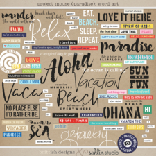 Project Mouse (Paradise): Word Art by Britt-ish Designs and Sahlin Studio - Perfect for your Project Life / Project Mouse albums for documenting your Hawaii, cruise or vacation scrapbooking pages.