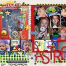 Disney Tomorrowland Astro Blaster Toy Story digital scrapbooking page using Project Mouse (Tomorrow): Enamel Pins & Artsy by Britt-ish Designs and Sahlin Studio