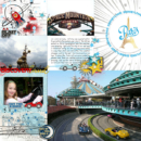 Disneyland Paris Tomorrowland Autopia Space Mountain Mission digital scrapbooking page using Project Mouse (Tomorrow): Enamel Pins & Artsy by Britt-ish Designs and Sahlin Studio