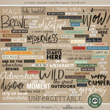 Project Mouse (Wilderness): Word Art by Britt-ish Designs and Sahlin Studio - Perfect for scrapbooking your travels in the wilderness camping, At Wilderness Lodge, Merida Brave, Pocahontas or Chip and Dale in your Project Life albums!!
