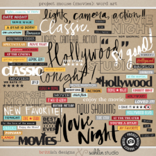 Project Mouse (Word Art): Journal Cards by Britt-ish Designs and Sahlin Studio - Perfect for scrapbooking your movie night or night at the movies or your Disney Hollywood Studios photos in your scrapbooking or Project Life albums!!