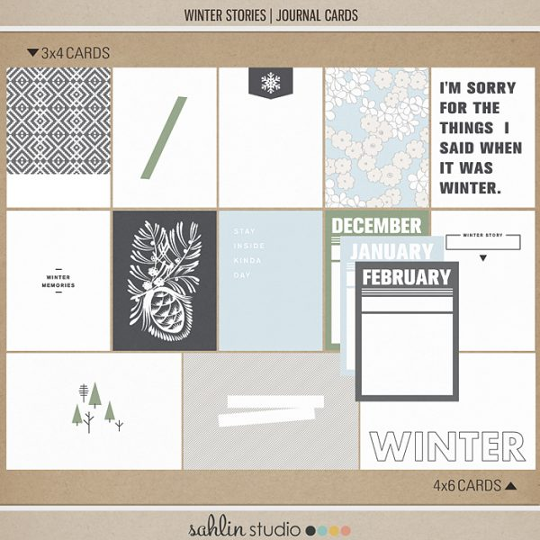 Winter Stories | Journal Cards by Sahlin Studio - Perfect for your outdoor, winter and snow photos!!