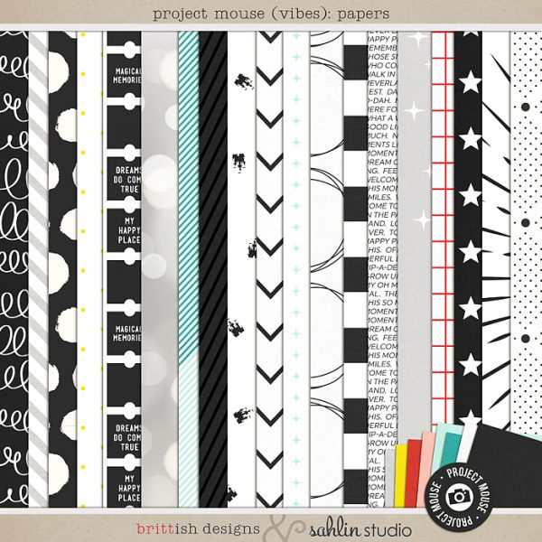 Project Mouse (Vibes) Papers by Britt-ish Designs and Sahlin Studio - Perfect for scrapbooking or in your Disney Project Life or Project Mouse albums!!
