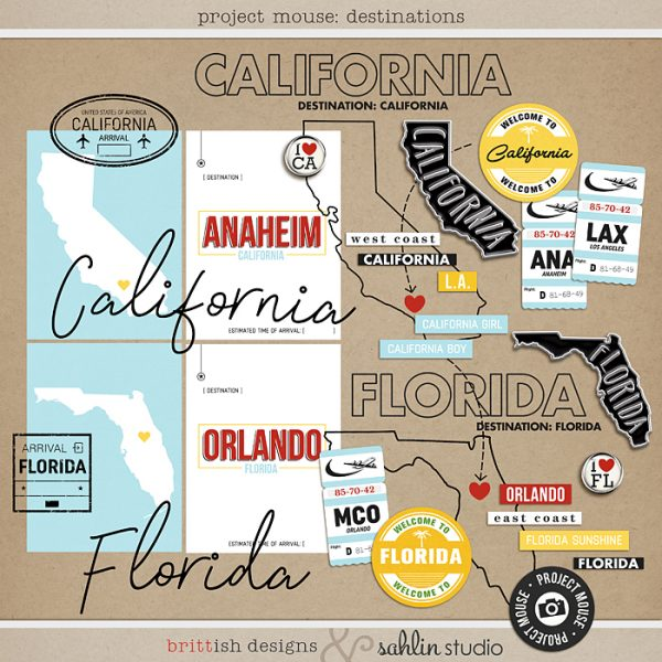 Project Mouse: Destinations by Britt-ish Designs and Sahlin Studio - Prefect for digital scrapbooking your California, Florida trips in your Project Mouse albums!!