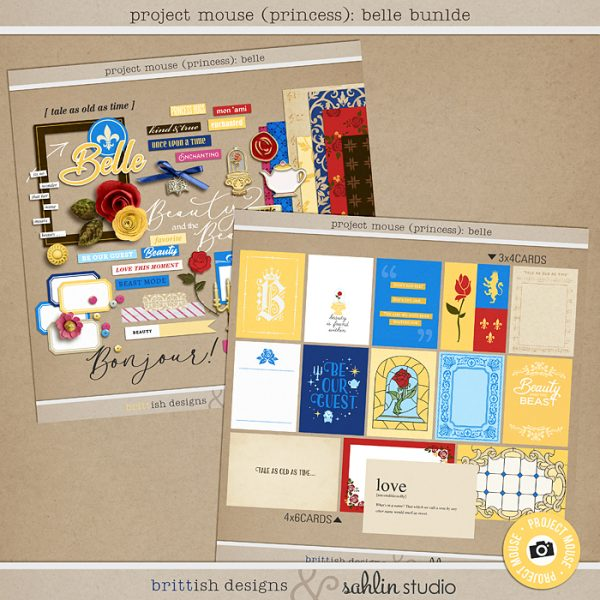 Project Mouse (Princess) Belle | Bundle by Britt-ish Designs and Sahlin Studio - Perfect for documenting Beauty and the Beast or other magical moments in your Project Life / Project Mouse album!!