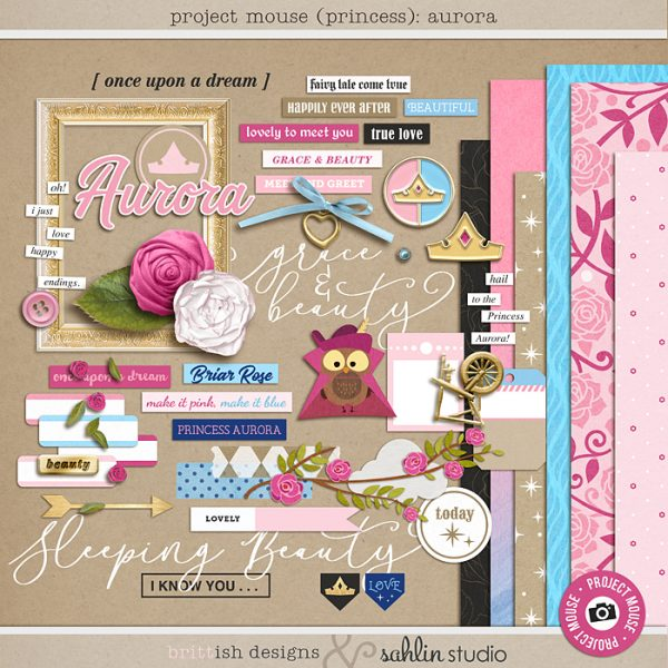 Project Mouse (Princess) Aurora | Kit by Britt-ish Designs and Sahlin Studio - Perfect for documenting Sleeping Beauty or castle or other magical moments in your Project Life / Project Mouse album!!