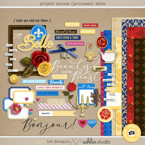 Project Mouse (Princess) Belle | Kit by Britt-ish Designs and Sahlin Studio - Perfect for documenting Beauty and the Beast or other magical moments in your Project Life / Project Mouse album!!