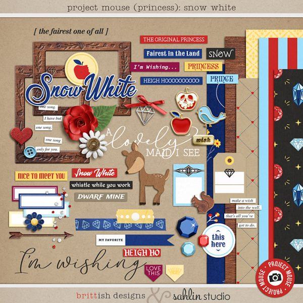 Project Mouse (Princess) Snow White   Kit by Britt-ish Designs and Sahlin Studio - Perfect for documenting Snow White or the Dwarf Mine Ride or other magical moments in your Project Life / Project Mouse album!!