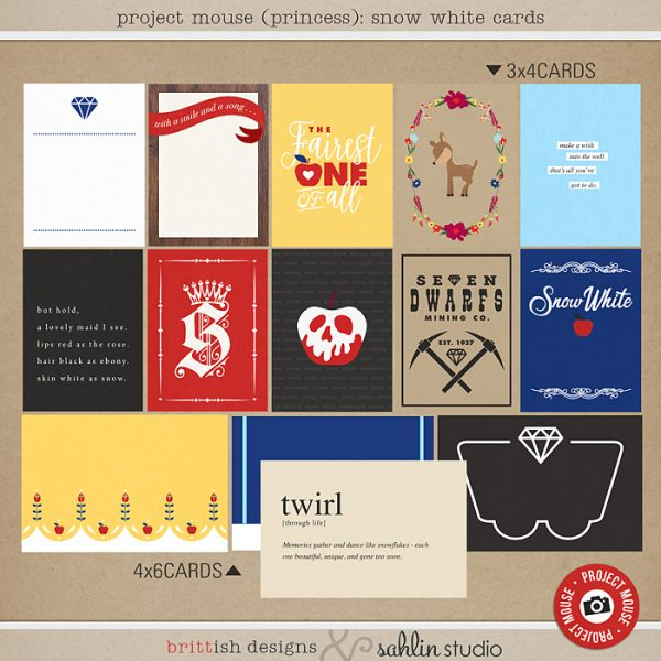 Project Mouse (Princess) Snow White | Journal Cards by Britt-ish Designs and Sahlin Studio - Perfect for documenting Snow White or the Dwarf Mine Ride or other magical moments in your Project Life / Project Mouse album!!
