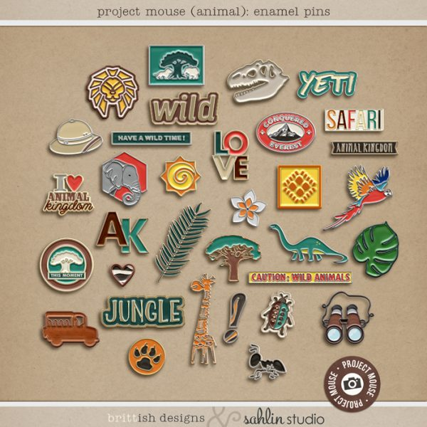 Project Mouse: Animal Enamel Pins by Britt-ish Designs and Sahlin Studio - Perfect for documenting Project Life for Disney Animal Kingdom, safari, zoo