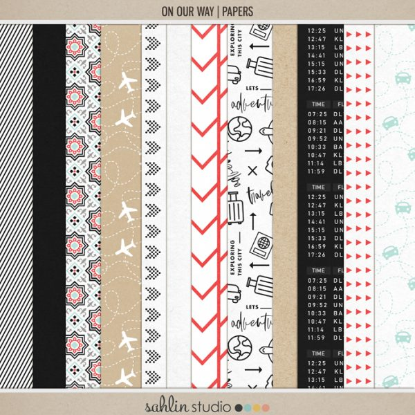 On Our Way (Papers) by Sahlin Studio - Perfect for all of your travels in your Smash Books, Project Life album or digital scrapbooking!!