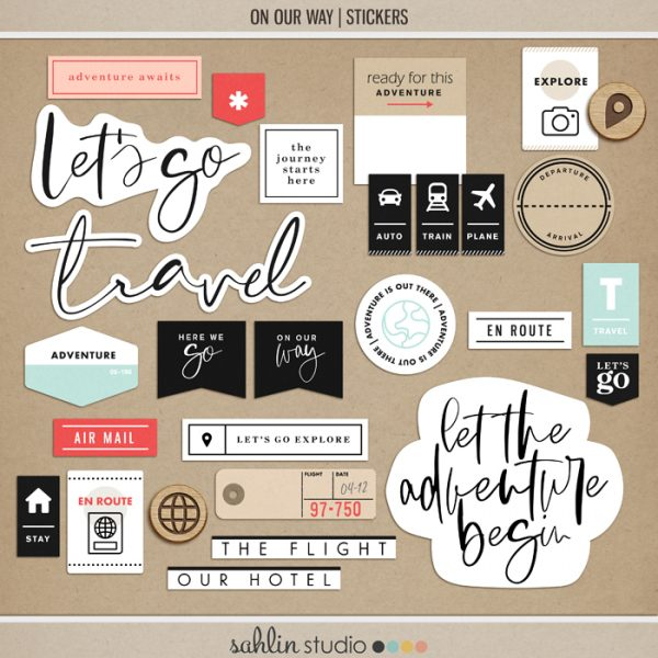 On Our Way (Stickers) by Sahlin Studio - Perfect for all of your travels in your Smash Books, Project Life album or digital scrapbooking!!