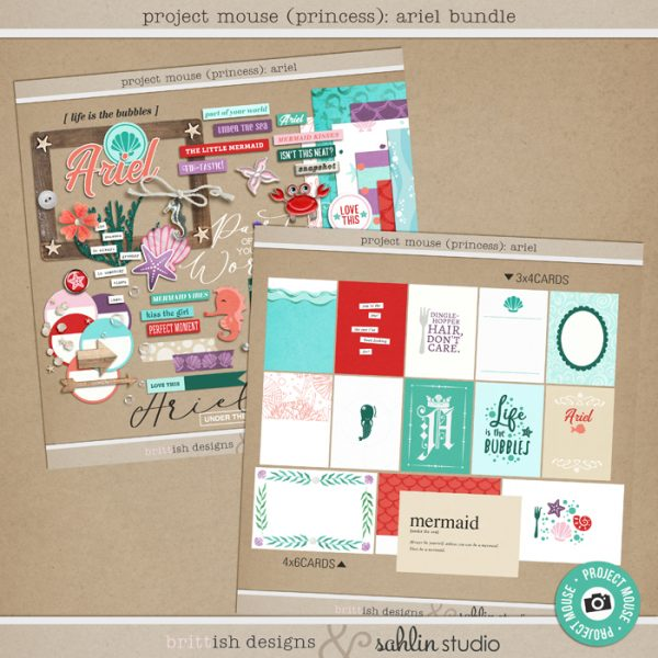 Project Mouse (Princess) Ariel | Bundle by Britt-ish Designs and Sahlin Studio - Perfect for documenting Disney Ariel or other magical moments in your Project Life / Project Mouse album!!