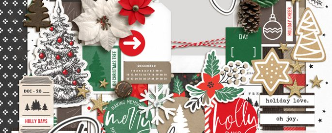 Holly Days | Kit by Sahlin Studio - Perfect for documenting your winter / Christmas scrapbooks, Project Life albums and December Daily pages!!