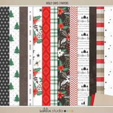 Holly Days | Papers by Sahlin Studio - Perfect for documenting your winter / Christmas scrapbooks, Project Life albums and December Daily pages!!