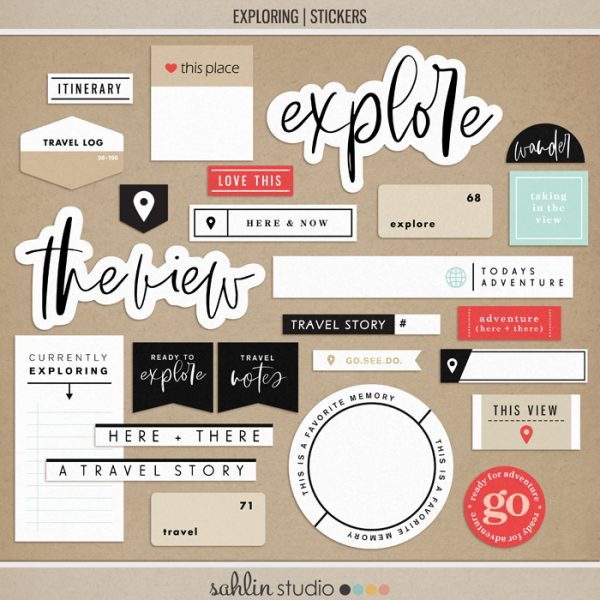 Exploring (Stickers) by Sahlin Studio - Perfect for all of your travels in your Smash Books, Project Life album or digital scrapbooking!!