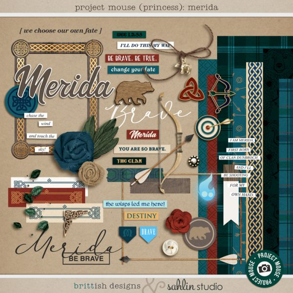 Project Mouse (Princess) Merida | Kit by Britt-ish Designs and Sahlin Studio - Perfect for documenting Disney Brave, Merida, Scotland or other magical moments in your Project Life / Project Mouse album!!