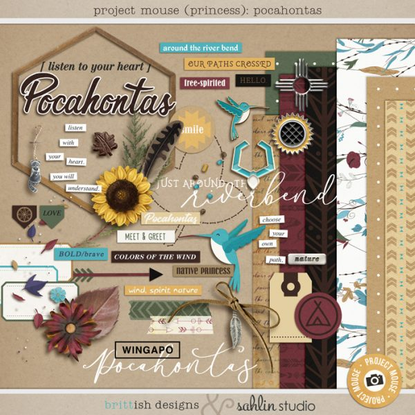 Project Mouse (Princess) Pocahantas | Kit by Britt-ish Designs and Sahlin Studio - Perfect for documenting Disney Pocahontas, Fall or other magical moments in your Project Life / Project Mouse album!!