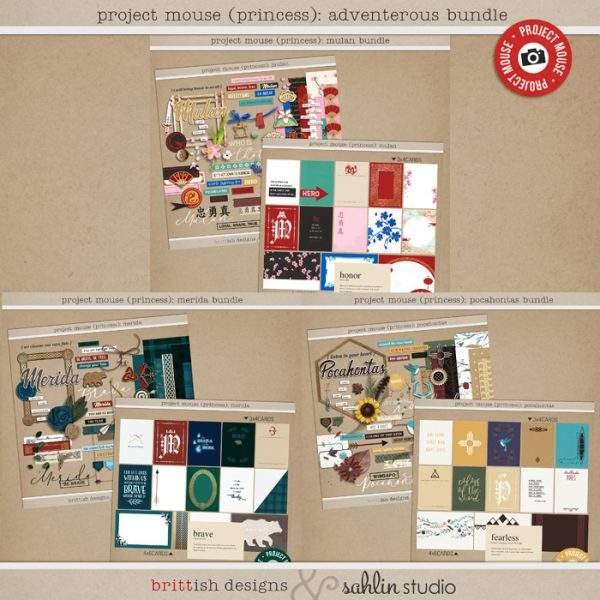 Project Mouse (Princess) Adventurous BUNDLE by Britt-ish Designs and Sahlin Studio - Perfect for documenting Disney Mulan, Merida, Pocahontas or other magical moments in your Project Life / Project Mouse album!!