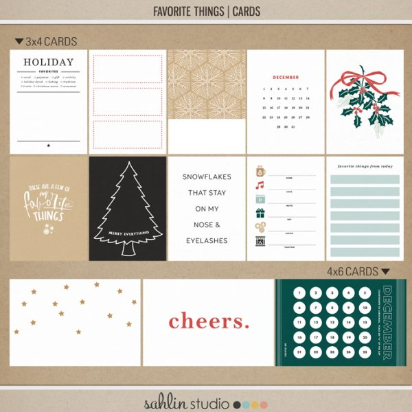 Favorite Things (Journal Cards) by Sahlin Studio- Perfect for your December Daily, Document Your December, Project Life and Christmas albums!!