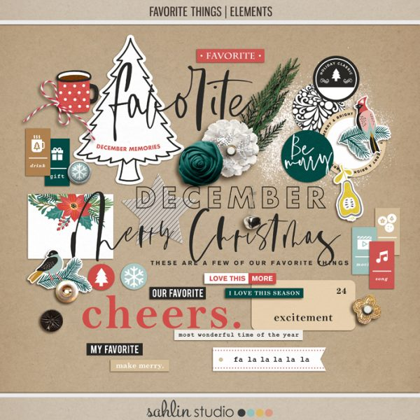 Favorite Things (Elements) by Sahlin Studio- Perfect for your December Daily, Document Your December, Project Life and Christmas albums!!