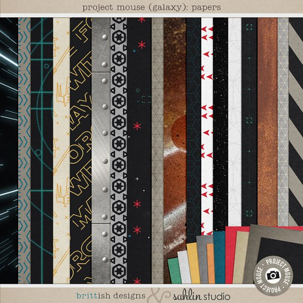 Project Mouse (Galaxy): Papers by Britt-ish Designs and Sahlin Studio - Perfect for all of your Disney Tomorrowland and Star Wars layouts, in your scrapbookings or Project Life albums!!