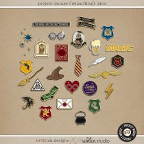 Project Mouse (Wizarding) Enamel Pins by Brittish Designs and Sahlin Studio - Perfect for your Universal Studios or Harry Potter Wizarding World vacation digital scrapbooking layouts or Project Life albums!!